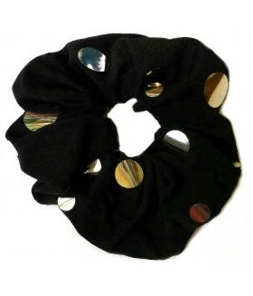 Резинка для волос большая черная с серебристыми вставками