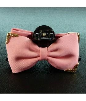 Краб для волос большой с бантом розовый