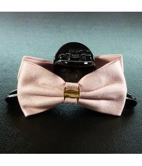 Краб для волос большой кожаный розовый