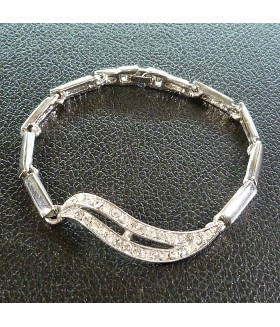 Браслет металлический серебристый со стразами