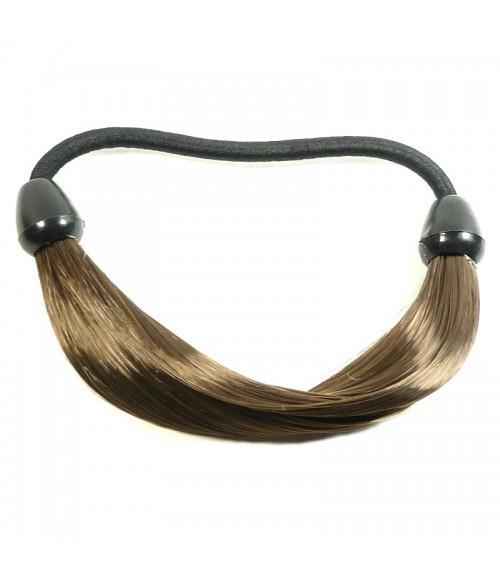Резинка для волос из искусственных волос коричневая