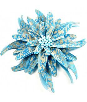Брошка цветок бирюзового цвета