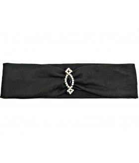 Повязка для волос со стразами черная