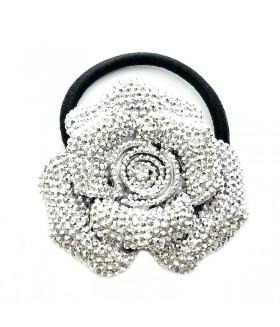 Резинка для волос с серебристым цветком