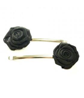 Заколка невидимка для волос с черной розой набор 2 штуки