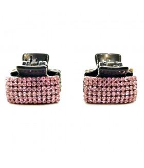 Крабик для волос со стразами розовый набор 2 штуки