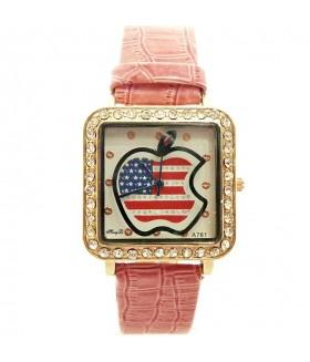 Часы с кожаным розовым ремешком