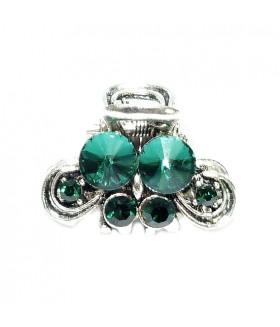 Крабик металлический с зелеными стразами