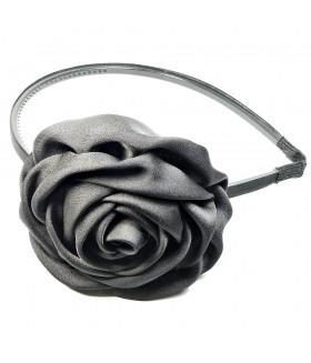 Ободок для волос узкий с цветком и с зубцами черный