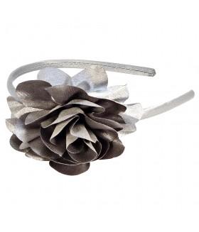 Ободок для волос узкий с цветком серый