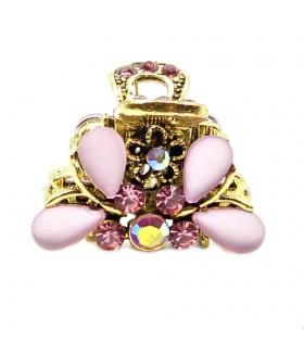 Крабик для волос золотого цвета с розовыми камнями