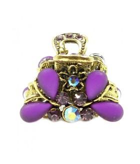Крабик металлический с фиолетовыми стразами