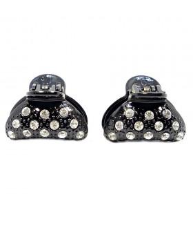 Крабик для волос черный с кристаллами набор 2 штуки