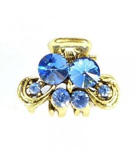 Крабик для волос золотого цвета с голубыми камнями