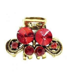 Крабик металлический золотого цвета с красными стразами
