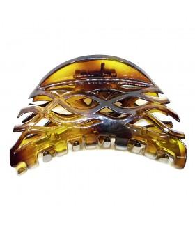 Краб для волос каучуковый коричневый глянцевый