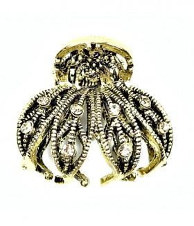 Крабик для волос металлический со стразами бронзовый