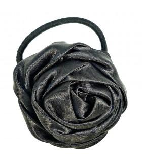 Резинка для волос с цветком черного цвета