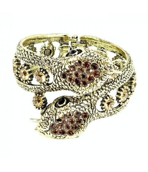 Браслет змейки коричнево-бронзовый