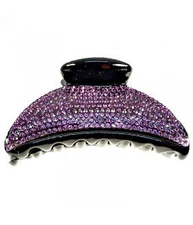 Краб для волос большой черный с фиолетовыми стразами