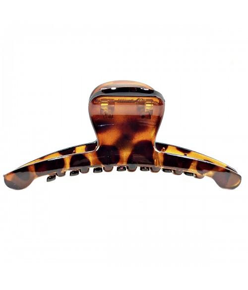 Краб для волос большой из каучука коричневый