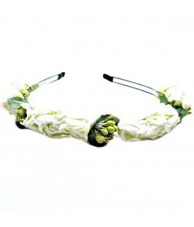 Ободок для волос узкий металлический с цветами черно-белый