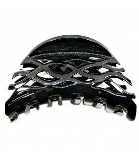 Краб для волос каучуковый черный глянцевый