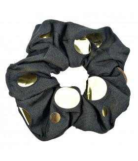 Резинка для волос большая черная с золотистыми вставками