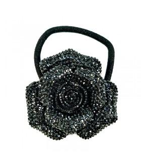 Резинка для волос с черным цветком