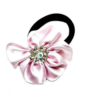 Резинка для волос с розовым цветком