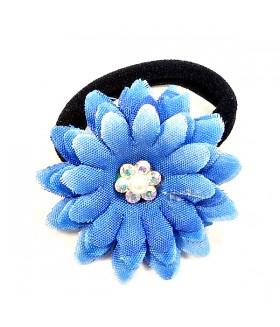Резинка для волос с синим цветком