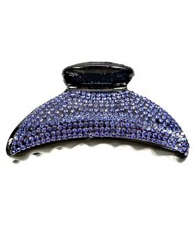 Краб для волос черный с темно-синими стразами