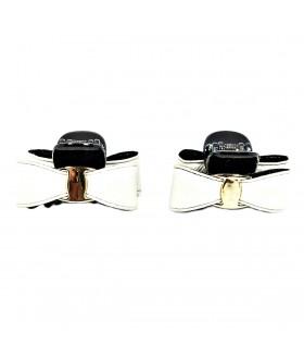 Крабик для волос с кожаным белым бантом набор 2 штуки
