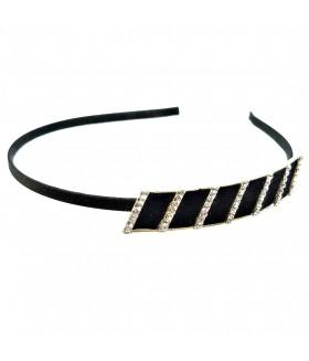 Ободок для волос металлический узкий со стразами черный