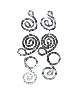Серьги гвоздики длинные металлические серебристые