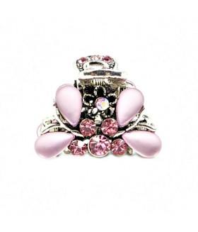 Крабик для волос серебристого цвета с розовыми стразами