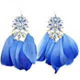 Серьги длинные с перьями синие