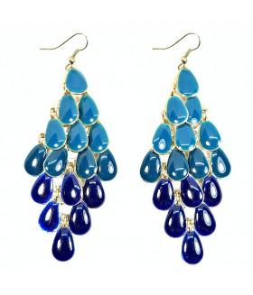 Серьги длинные сине-голубые