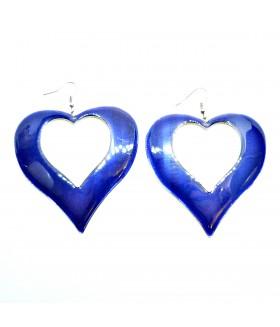 Серьги крупные сердце синие
