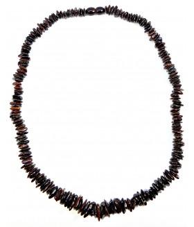 Бусы короткие из натурального янтаря темно-коричневые