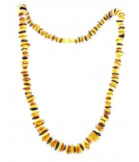 Бусы из натурального янтаря желто-коричневого цвета