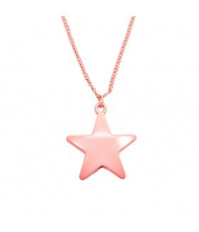 Кулон звезда на длинной цепочке розовый