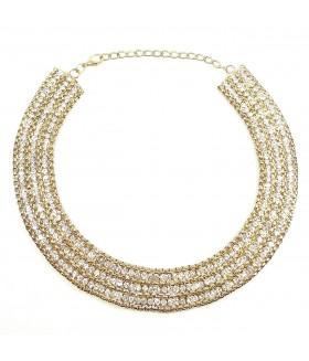 Колье/ожерелье со стразами золотого цвета