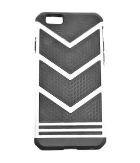 Чехол для iPhone (Айфон) 6/6s резиновый черно-серебристый