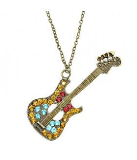 Кулон гитара с вставками на цепочке