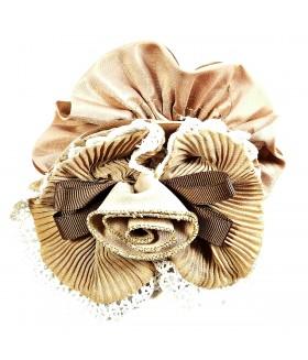 Резинка для волос большая коричневая с цветком