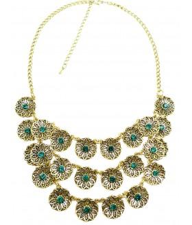 Ожерелье с зелеными вставками