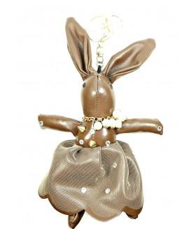 Брелок кролик кожаный коричневый