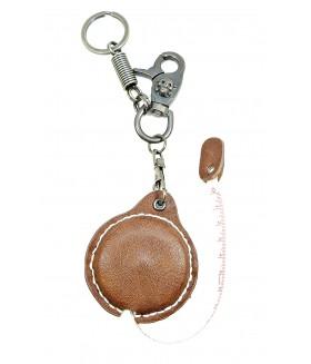 Брелок кожаный с сантиметром коричневый