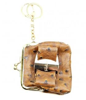 Брелок кошелек кожаный коричневый